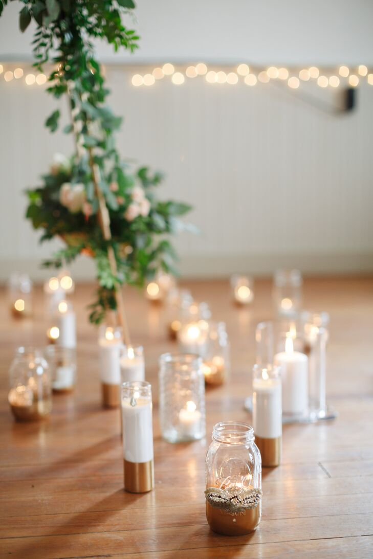 Glass Votives at Indoor Ceremony
