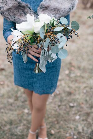 Eucalyptus and Privet Berry Bridesmaid Bouquet
