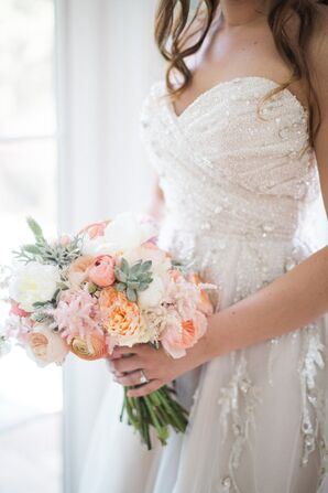 Peach and Pink Pastel Bridal Bouquet