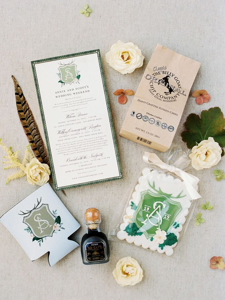 Monogrammed Wedding Invitations at Rustic Estate Wedding in Ladue, Missouri