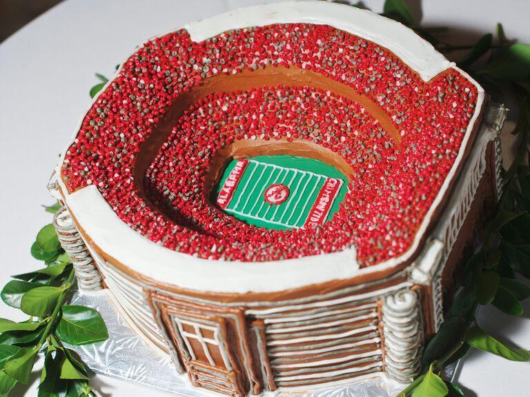 Football stadium-themed groom's cake