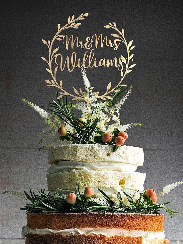 wreath custom wedding cake topper
