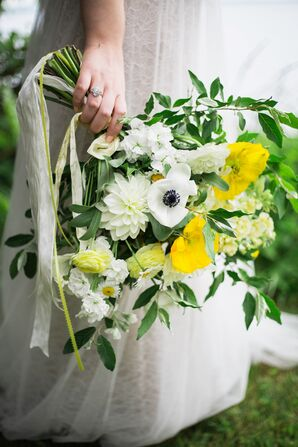 Hand-Tied White and Yellow Bridal Bouquet