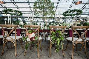 Cross-Back Chairs with Large Floral Arrangements