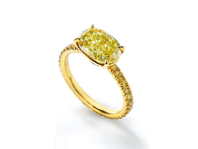 Oval-shaped yellow diamond engagement ring