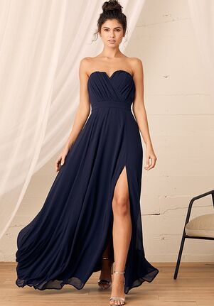 Lulus Glimpse of You Navy Blue Strapless Maxi Dress Strapless Bridesmaid Dress