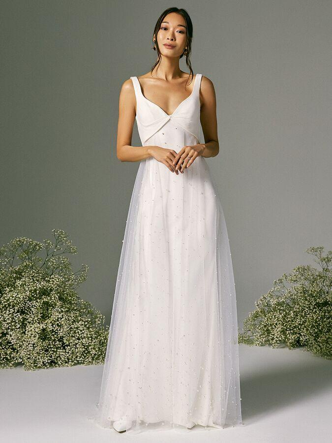 Savannah Miller twist front wedding dress with tulle overskirt
