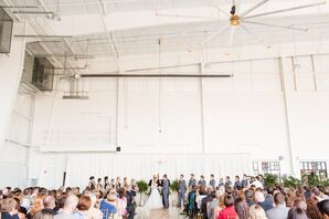 All-White Airport Hangar Wedding Ceremony