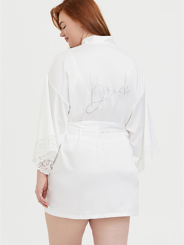 Bride plus size white bridal robe