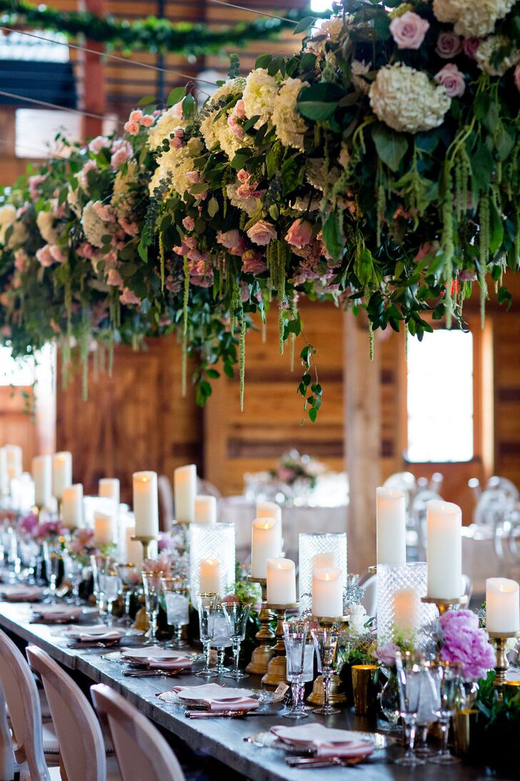 Table Covered with a Hanging Flower Installation