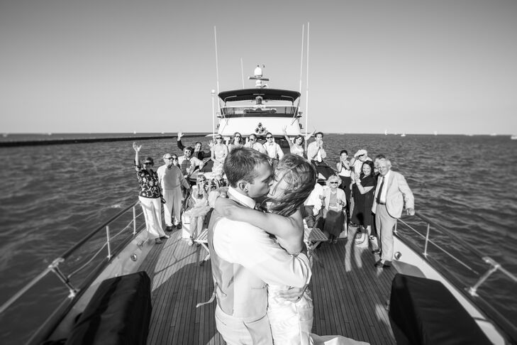 "The couple wrote their own vows for their waterfront ceremony. ""It allowed us to express our feelings toward one another on a deeper, more personal level,"" Liz says."