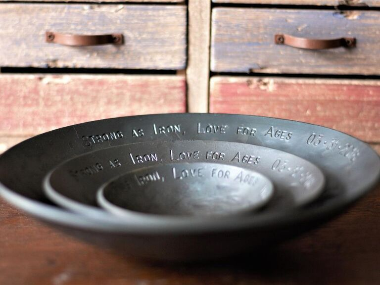 Iron nesting bowls personalized with Strong as Iron, Love for Ages