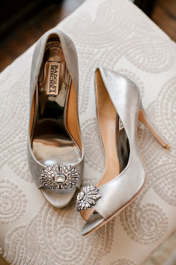 Silver Badgley Mischka Heels with Brooches
