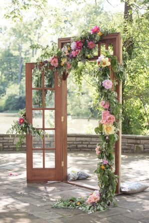 French Doors with Flowers and a Garland