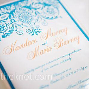 Blue Scrollwork Invitations