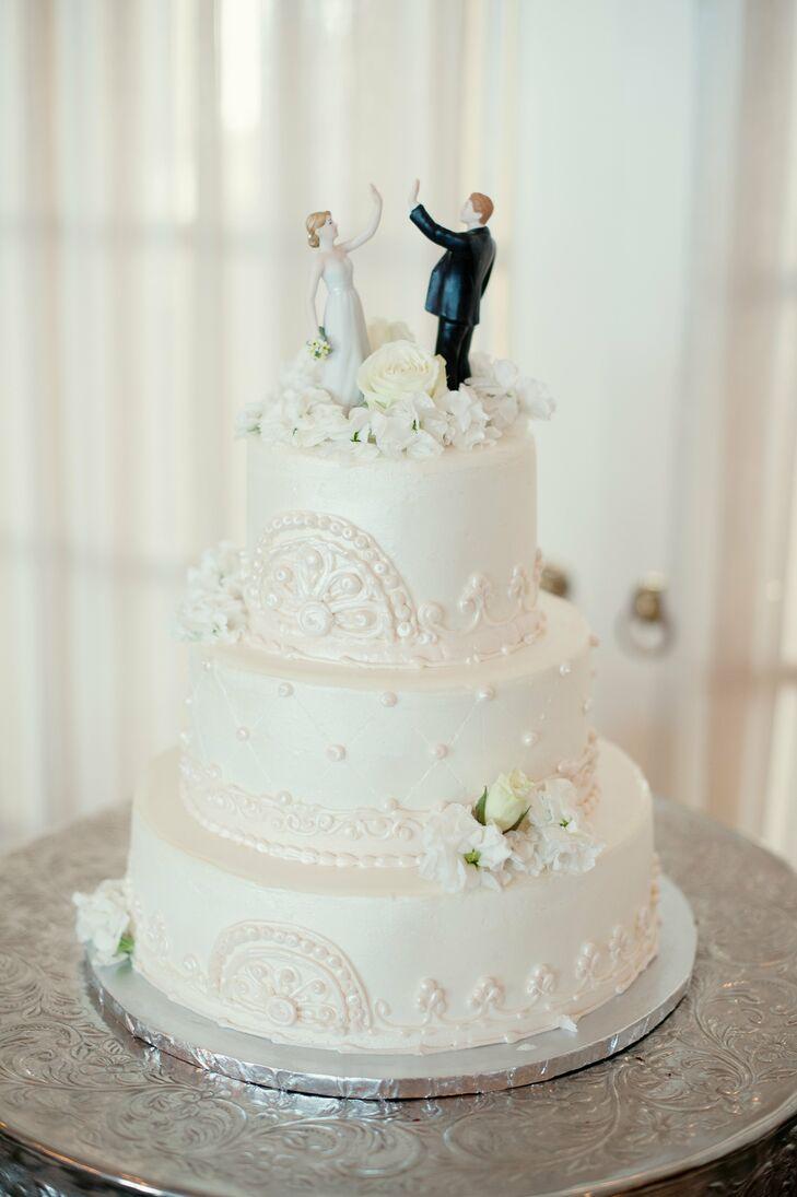 Playful White Wedding Cake
