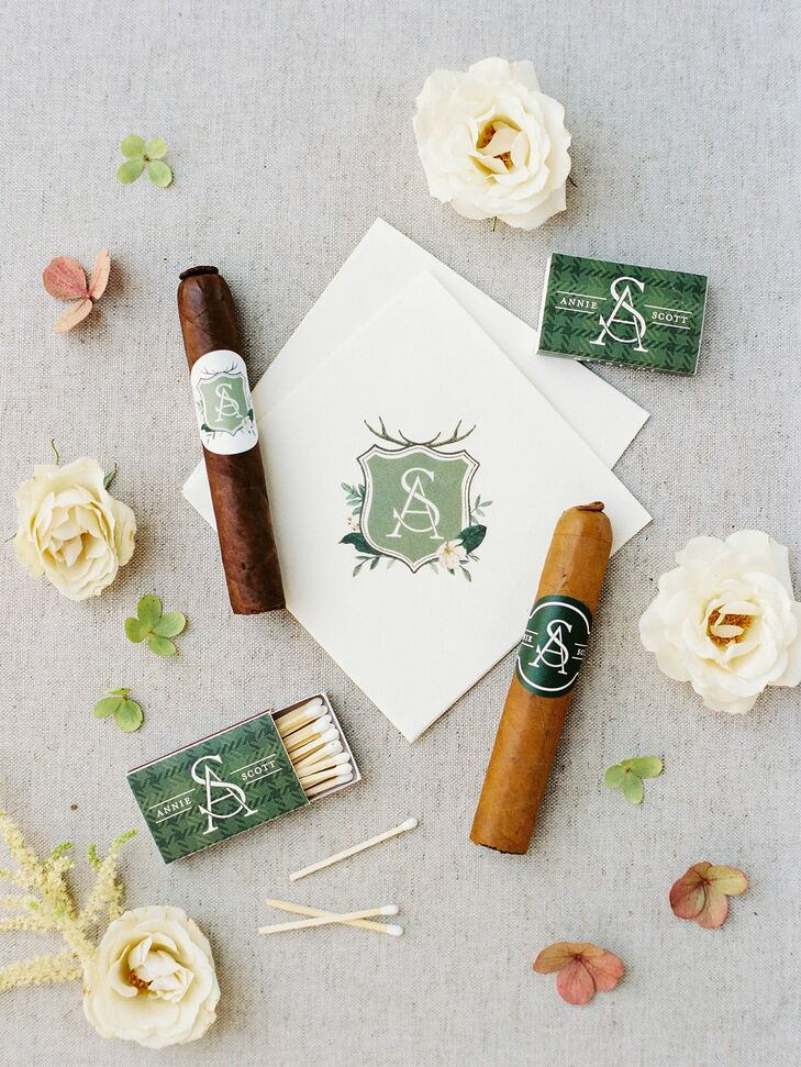 Custom Monogrammed Napkins and Cigars at Rustic Estate Wedding in Ladue, Missouri