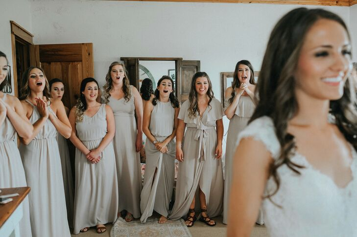 Bridesmaids Reacting to First Look at Bride