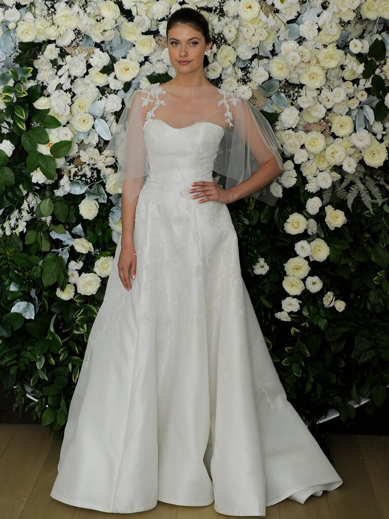 19763eb7b0d Anne Barge Spring 2019 Collection A-line wedding dress with sweetheart  bodice and sheer lace