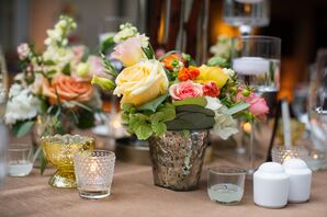 Rose-Filled Mercury Glass Centerpieces