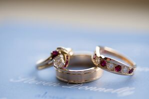Diamond and Ruby Two-Tone Rings