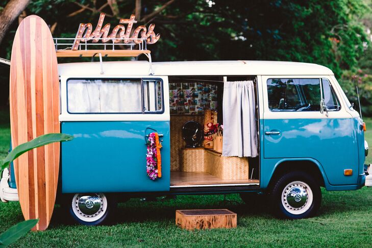 "Ashlee and Bryan used a restored Volkswagen bus as photo booth, reflecting Bryan's love for restoring cars and VW buses in his  hot rod shop. ""It was the perfect blend of local flair and sentiment for my groom,"" Ashlee says."