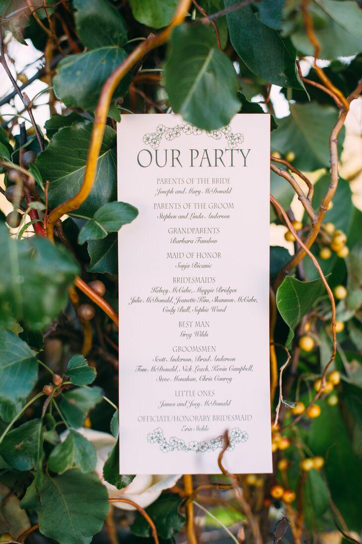 Classic Green and Ivory Wedding Program