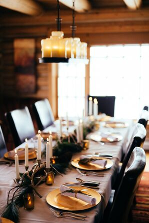 Evergreen, Antler, Taper Candle Centerpieces