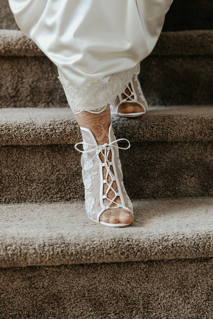 Lace-Up Heels for Wedding at The Ryland Inn in Whitehouse Station, New Jersey