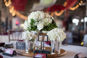 White Hydrangea and Alstroemeria Floral Centerpiece