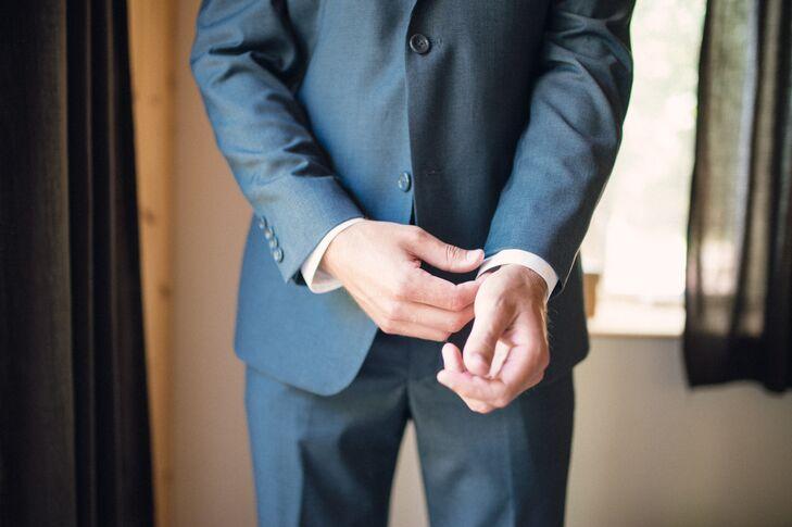 Groom in Charcoal Gray Suit by Halberstadt's
