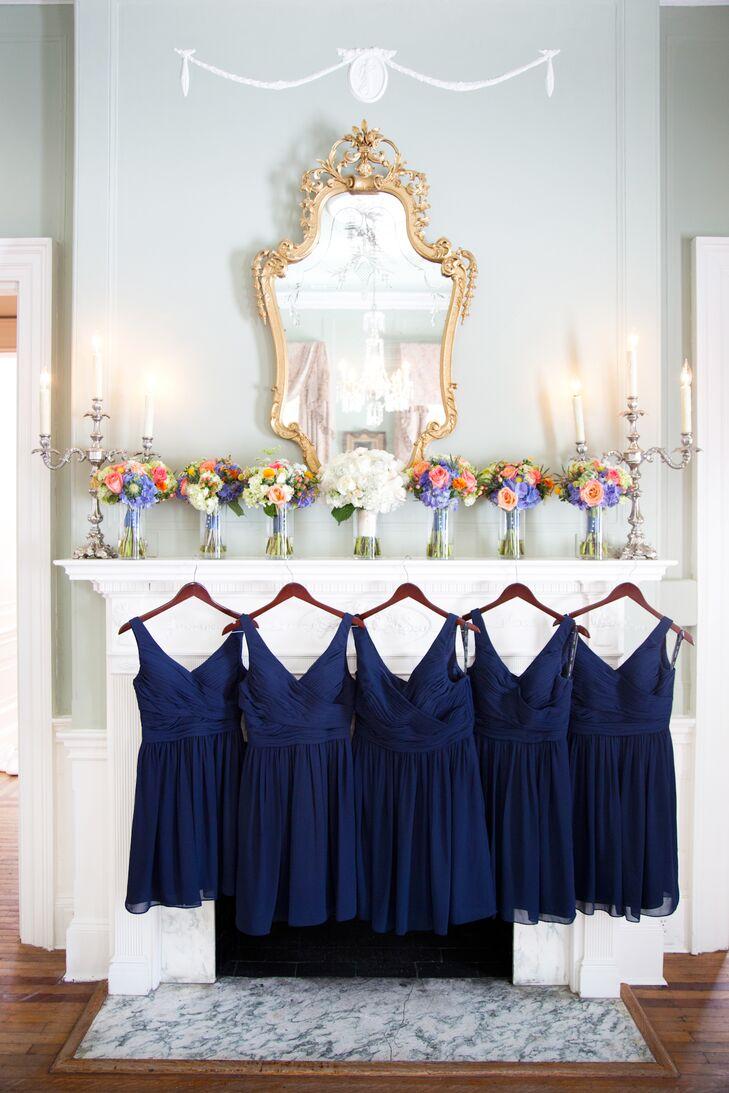 Navy Bill Levkoff Bridesmaid Dresses