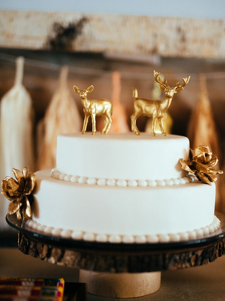 Gold deer cake toppers for winter wedding