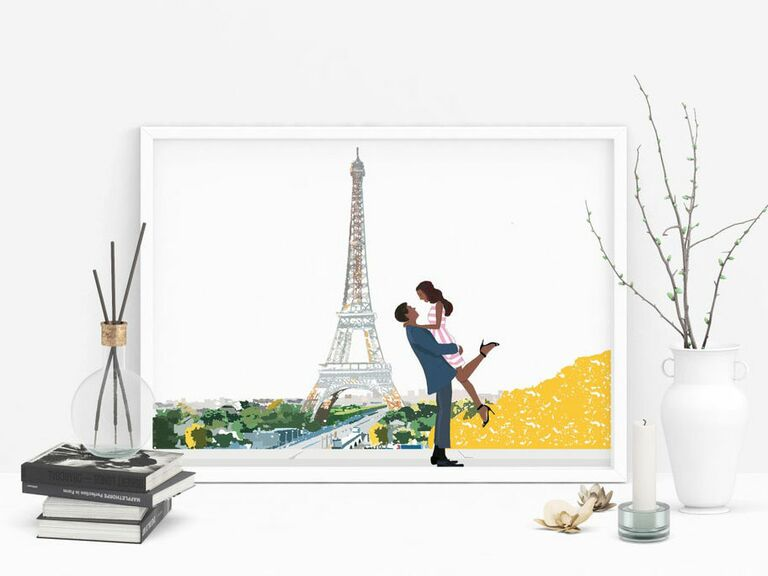 personalized print of couple in Paris