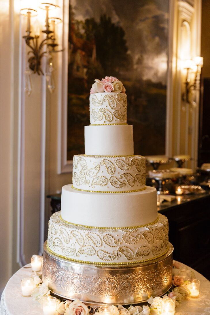 Glam Gold and White Wedding Cake with Gold Piping