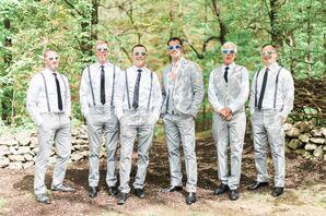 Gray Trousers and Suspenders Groomsmen Look
