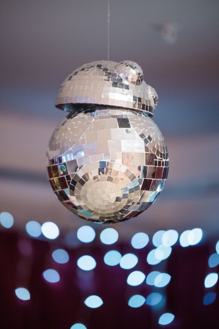 "There were ""Star Wars"" details added in various ways, including this BB-8 disco ball over the dance floor."