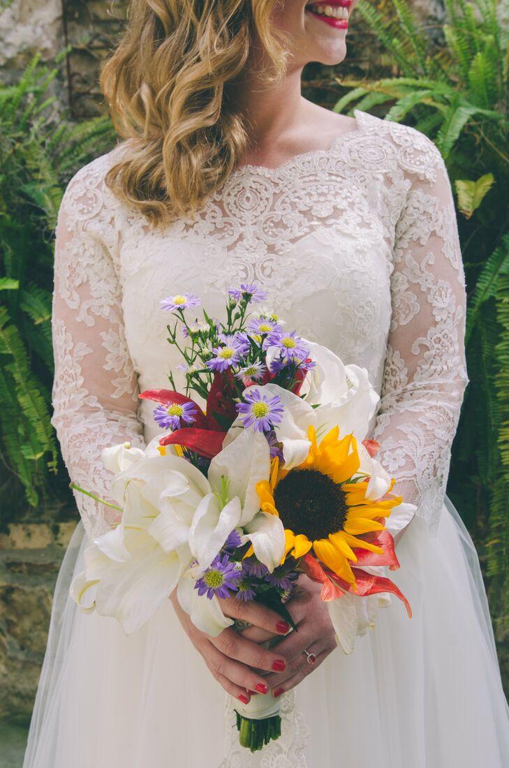 White Stargazer Lily And Sunflower Bouquet