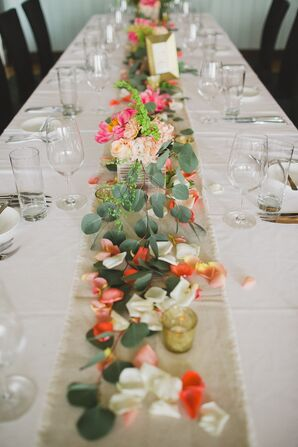 Bright Floral and Eucalyptus Centerpieces