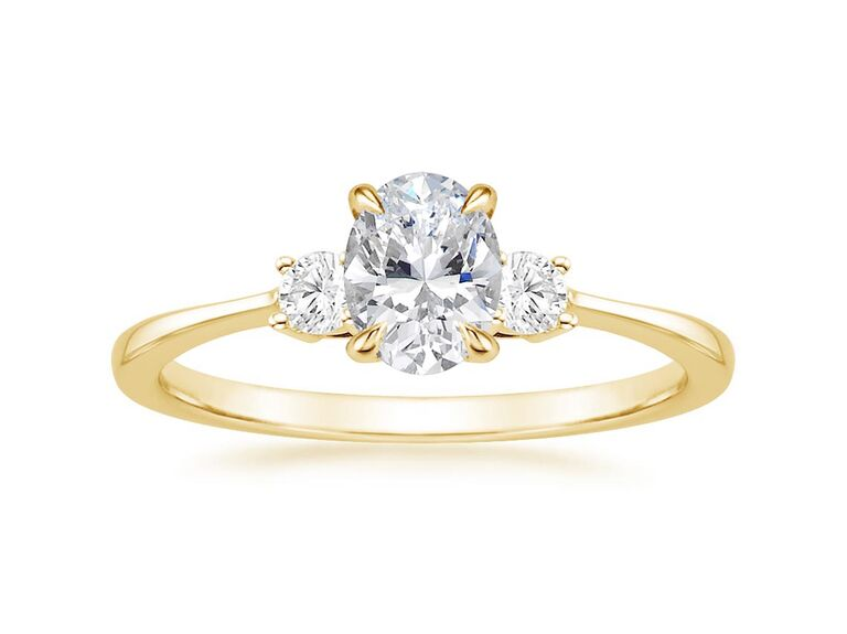 Gold lab grown diamond engagement ring