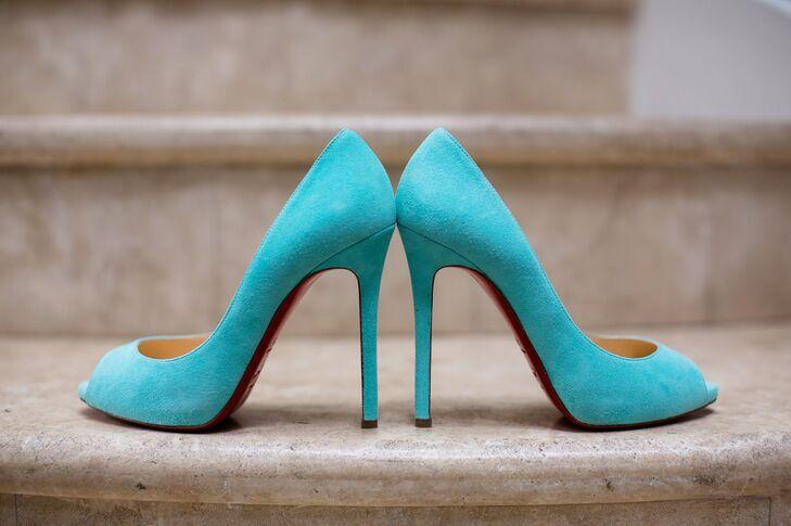 ce2b051919ea Turquoise Blue Christian Louboutin Bridal Shoes