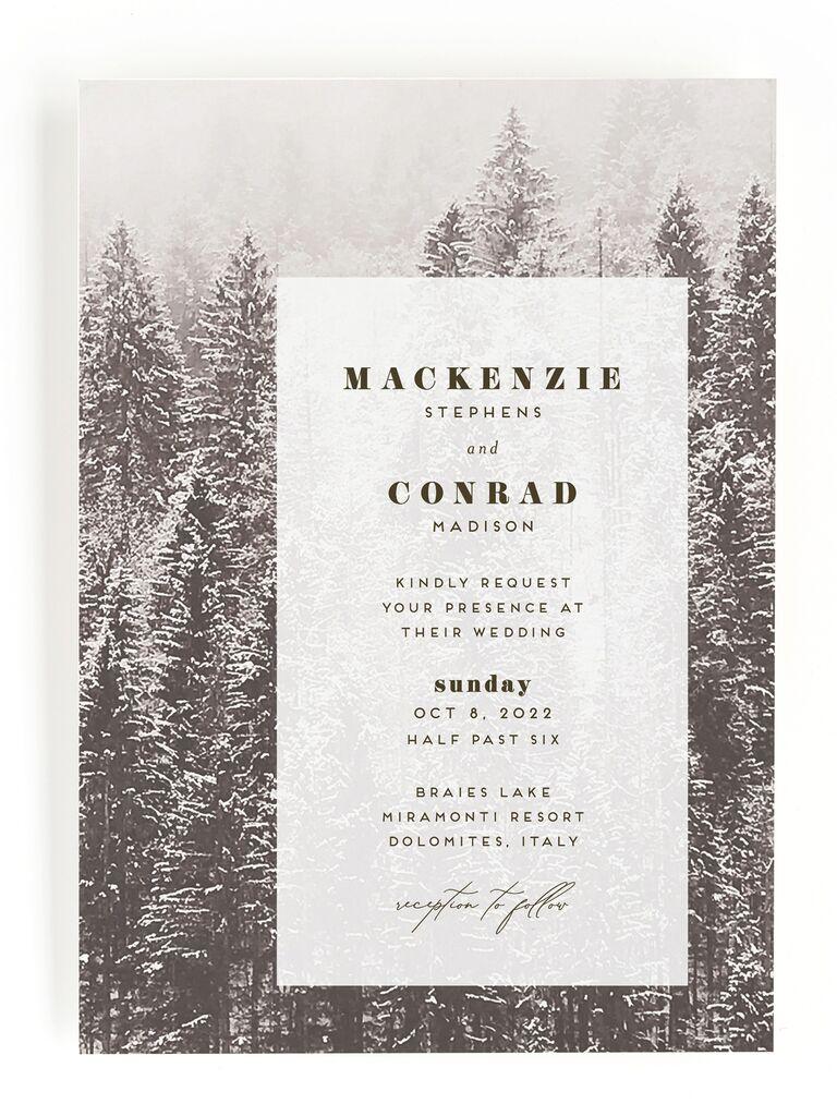 Forest rustic wedding invitation