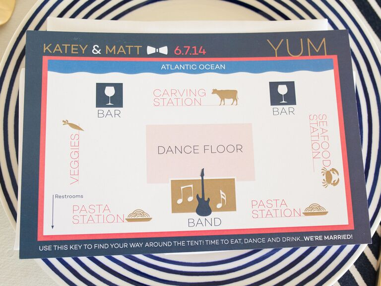 modern map creative wedding menu idea