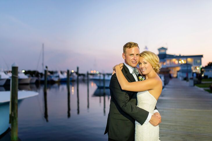 A seaside wedding on a beautiful marina surrounded by sport-fishing boats created the perfect resort feel that Caroline Hoppe (29 and a nursing studen