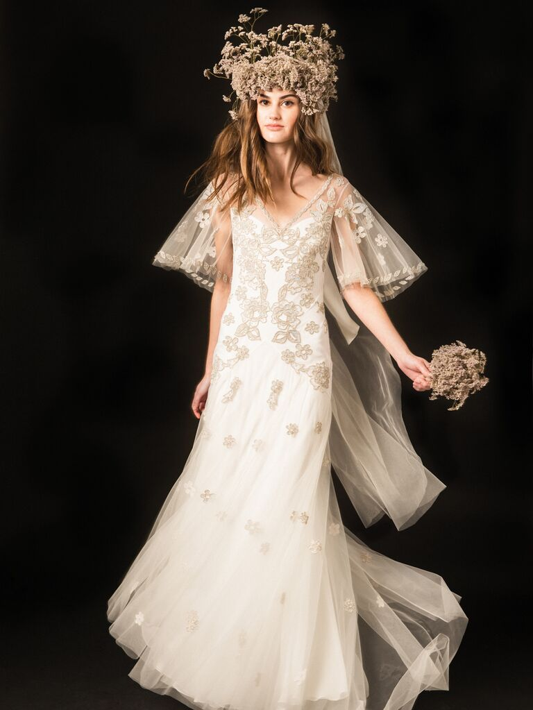 Temperley Spring 2020 Bridal Collection floral embroidered wedding dress with flutter sleeves