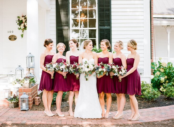 """I told the girls they could pick whichever dresses they wanted: long, short, strapless, sleeves,"" Allison says. ""All I cared about was the color."" This was also so they could minimize purchasing new formalwear. The only other specific request was that each bridesmaid wear nude wedges or heels."