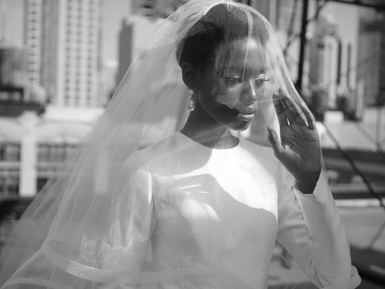 Bride wearing veil over her face