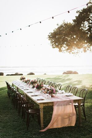 Farm Tables Draped in Sheer Pink Fabric