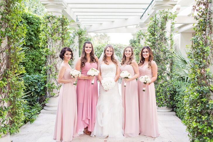 Long Different Style Blush Bridesmaid Dresses