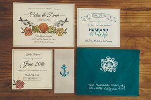 Beach-Inspired Ivory and Teal Invitations